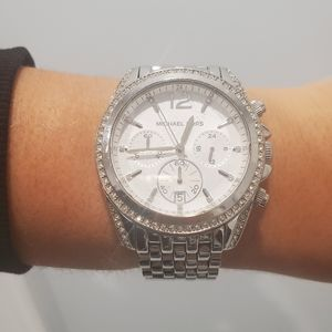 Michael kors silver watch with cz diamonds